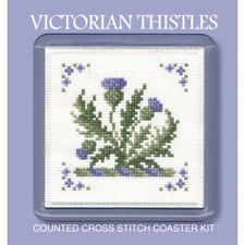 Victorian Thistles Counted Cross Stitch Coaster Kit by Textile Heritage COVT