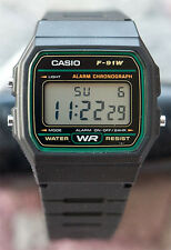 Casio F-91W-3 Digital Watch Green Microlight 7 Year Battery Resin Classic  New