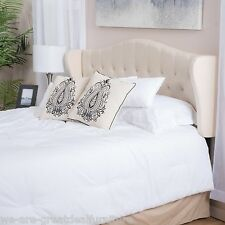 Contemporary Adjustable Beige Fabric Headboard for Full/Queen