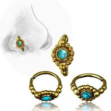 20G TRIBAL BRASS NOSE RING 7MM RING NOSE STUD HELIX 20G TURQUOISE