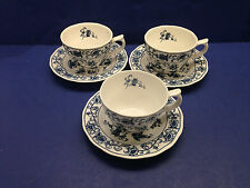 3 Ming Tree Double Phoenix Ironstone Japan CUPS & SAUCERS Nikko Blue & White