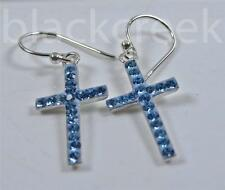 925 Sterling Silver ~ Czech Crystal~ French Wire~ Cross~ Dangle Earrings
