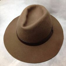 VTG Broner Outback Mens XL 100% Wool Hat Made in USA Brown Indiana Jones Fedora