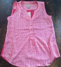 NWT Womens HANNAH & GRACIE Pink Printed Button Front Tank Top Blouse Size L