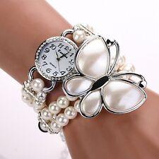 Women Butterfly Faux Pearl Bead Band Rhinestone Bracelet Dial Quartz Wrist Watch