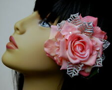 LIGHT PINK ROSE W/ SILVER SPARKLE ACCENTS & JEWELED PHLOX CLIP-PIN, ROSE CLIP