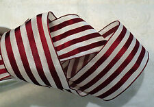 "2""  FRENCH TAFFETA RED AND WHITE STRIPE RIBBON - WIRED - BTY"