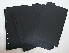 9 Shimmery Black Onyx Filofax Personal Kate Spade size dividers subject top tab