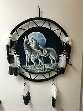 """HAND PAINTED VELVET SHIELDS  , 24"""" DIAMETER , TWO HOWLING WOLFS  , #16"""