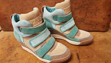Ash Alex Green Tan Leather Velcro High Top Wedge Sneakers Booties size 37 US 7