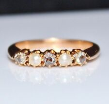 Victorian 14k Rose Gold Rose Cut Diamond Seed Pearl Band Ring, Size 6, .30CTW