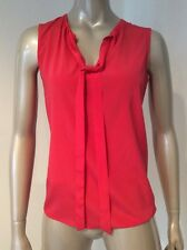 NWT Tori Burch Coral Pink Red Stretch Silk Tanya Top Sleeveless Blouse Size Zero
