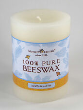 Pure Beeswax 3 x 4 IVORY Pillar Candle 60 hour Paraffin free 100% Cotton Wick
