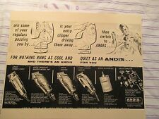 Vintage Barbershop Andis Clippers Tools Sign Ad w Barber Cutting Hair