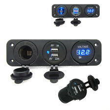 Waterproof 3 in1 Car Triple USB Charger Port + Voltmeter + Cigarette Lighter 12V