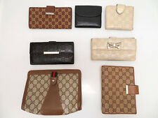 Authentic Gucci GG Canvas Leather wallet pouch agenda 7set P2410IOB5