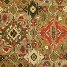 ZEPHER REDSTONE RUST BROWN SOUTHWEST UPHOLSTERY FABRIC LODGE RUSTIC CHENILLE