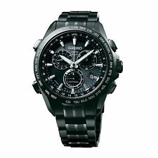 New Seiko Astron Solar GPS Chronograph Titanium PVD Men's Watch SSE009