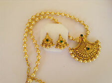 South IndianTraditional Jewellery gold pearl stone design necklace set &earring1