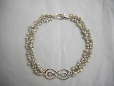 """Tiny Fresh Water Pearls & Sterling Double Infinity Bracelet 8"""" NWOT"""