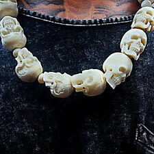 Mens Skull Necklace Hand Carved Bone Gothic jewelry Skeleton Pendant Taxidermy