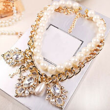 Women Retro Large Crystal Choker Charm Bold Pearl Alloy Chain Necklace Hot Sale