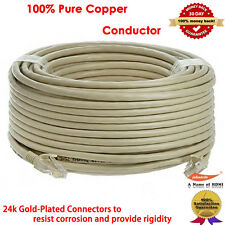 100 ft Feet Cat5e Ethernet Network Cable Gold Plated RJ45 Jack Copper Wire Grey