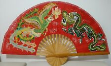 Giant Red Dragon Chinese Bamboo Hand Painted Fan