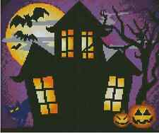 "Cross Stitch HALLOWEEN ""Haunted House Scene"" - COMPLETE KIT No. 42-103 Kit"