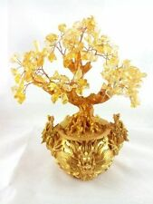 Feng Shui Citrine/ Yellow Crytal Gem Money Tree with Chinese Dragon Pots