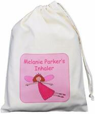 Personalised Flying Fairy - Asthma Inhaler & Spacer bag 25x35cm drawstring EMPTY