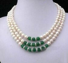 """3 Ring Charming Jewelry freshwater pearl and jade necklace 17-19 """""""