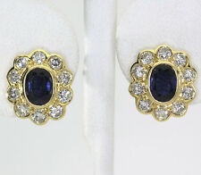Diamond sapphire earrings 18K yellow gold round brilliant oval 3.60CT halo 6.6GM