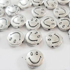 10 x Antique SILVER SMILEY FACE BEADS, GET 3 for 2, Round Silver Spacer Beads,