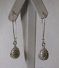 Robert Lee Morris RLM SOHO Silver Tone Pave Crystal Teardrop Long Drop Earrings