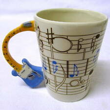 Novelty Blue Electric Guitar Music Themed Coffee Cup / Stave Decal. Gift Boxed