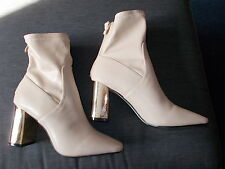 Red Kiss Square Toe Faux Leather Block Heel Short Boots UK8 EU42 Beige BNWoB