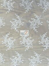 GORGEOUS FLORAL EMBROIDERY BRIDAL DRESS LACE FABRIC BY THE YARD WEDDING GOWN
