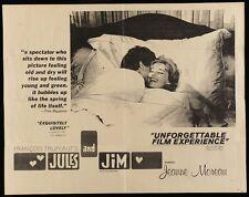 JULES ET AND JIM half sheet movie poster 22x28 FRANCOIS TRUFFAUT JEANNE MOREAU