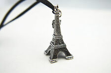 Vintage Silver Eiffel Tower with Crown Leather Cord Necklace