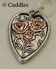 Loved Heart Roses Copper Ganz Metal Silver Charm Bracelet Necklace Love New