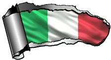 Ripped Open GASH Rip Torn Metal & Italy Italian il Tricolore Flag Car Sticker