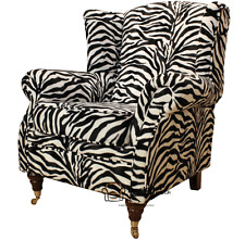 Ashley Fireside High Back Wing Armchair Animal Print Zebra Velour Fabric