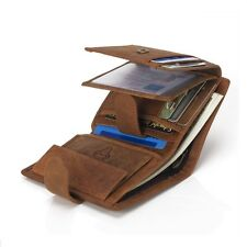 Mens Real Leather Vintage Clutch Wallet Credit Card Purse Cash Coin Holder Brown