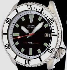 Vintage mens watch SEIKO diver 7002 mod w/CHROME Plongeur hands & SILVER bezel !