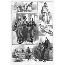 RUSSIA Circassian Imperial Guard, Finn Peasants, Civil Service - Old Print 1880