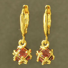 Korean Fashion Yellow Gold Filled Red CZ womens Megic-Ball Dangle Earrings
