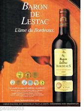 PUBLICITE ADVERTISING 096  2002  le vin millésime Baron de Lestac Bordeaux