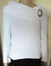 NWT WHITE HIGH END QUALITY RIBBED JUMPER FREE SIZE 38'' CHEST