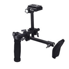 DSLR Video Camera Single Handle Shoulder Support Rig Stabilizer+QR Baseplate Kit